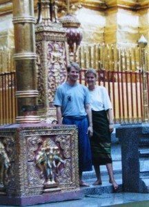 Bill and Ashley in a temple
