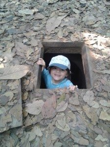 The Cu Chi Tunnels are a popular day trip from Ho Chi Minh City. Even though the tunnels were built for adults, they really are child-sized.