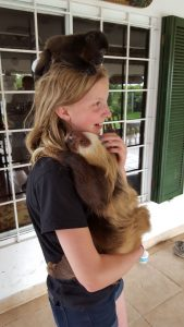 That's a baby monkey on her head and huggable sloth.